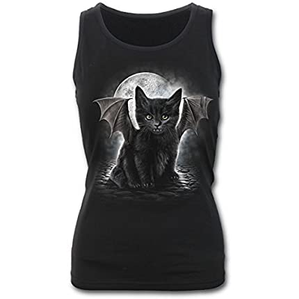 Spiral - Bat Cat - Top con Espalda de Nadador - Negro - XL