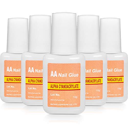 Pegamento de Uñas Falso de Adhesivo Pegamento de Uñas con Pincel Pegamento de Uñas Rápido para Suministros de Maquillaje de Uñas(5 Paquetes)