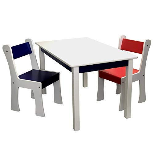 Kindersitzgruppe mit XXL Tisch und 2 x Kinderstuhl Set aus Holz MDF in Weiss bunt mit blau und rot für Kinderzimmer