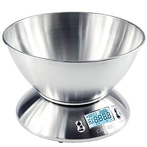 Camry Báscula de Cocina Electrónicas con Tazón Removible, 11 lbs / 5 kg, de acero inoxidable, Retroiluminación de la pantalla LCD