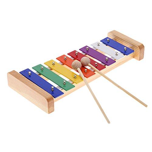 Andoer® Madera de Pino Xilófono 8-Note 3mm Colorido Placa de Aluminio C Tecla Percusión Toddle Juguetes Musicales para Ninos