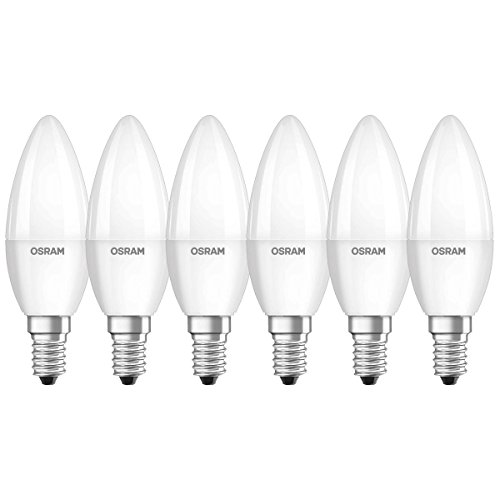 Osram LED Star Classic B Lampe, in Kerzenform mit E14-Sockel, nicht dimmbar, Ersetzt 40 Watt, Matt, Kaltweiß - 4000 Kelvin, 6er-Pack