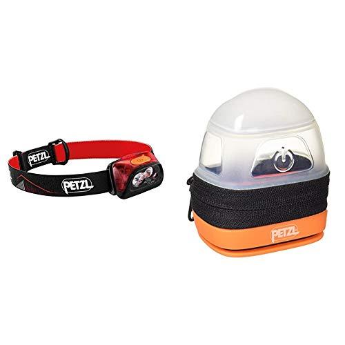 PETZL Actik Core Lampe Frontale Mixte Adulte, Rouge, Taille Unique & NOCTILIGHT - étuis pour équipements, TIKKINA, REACTIK +, TACTIKKA, TACTIKKA +, TACTIKKA +RGB, 85 g, Noir/Orange