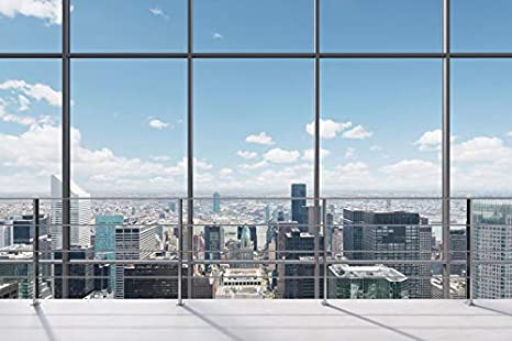 Leowefowa Office French Window City Aerial View Backdrop 12x8ft Vinyl Cityscape Photography Background Child Adult Portrait Shoot Work at Home Video Conference Photo Booth Props