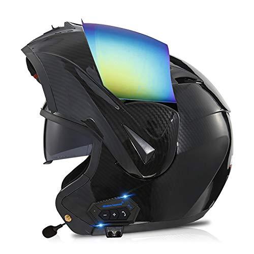 HZIH Bluetooth Cascos Flip Up Motocicleta ECER 22-05 Casco Moto Modular con Altavoz Incorporado Doble Visera Anti Niebla HD Reducción de Ruido para Adultos O,S=55~56cm