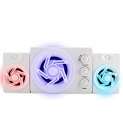 Altavoces Portátiles de Escritorio para Teléfonos Móviles, D-211 Altavoces de Escritorio para Teléfonos Móviles Mini Altavoz de luz Colorida, Blanco