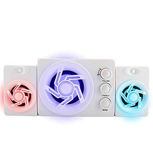 Agatige Tragbare Desktop-Handy-Lautsprecher, D-211 Desktop-Handy-Lautsprecher Mini Colorful Light Speaker Weiß