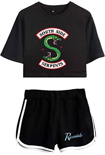 OLIPHEE Tuta Sportiva con Stampa di Riverdale Tata ginastica con Logo Riverdale Sets Sportive per Ragazze e Donna A-Nero-4 XS