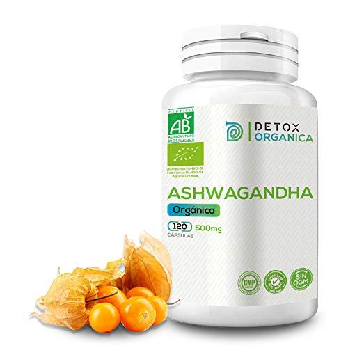 Detox Organica Ashwagandha Capsulas Orgánica 500 Mg 120 Cápsulas | Ashwagandha Orgánica – Hierba De Ayurveda Aswaganda BIO – Suplemento Vegano - Sin OGM