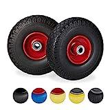 Relaxdays 2X Ruedas de Carretilla, Neumáticos de Goma, 3.00-4, Eje de 20mm, hasta 100 kg, 260x85 mm, Negro y Rojo