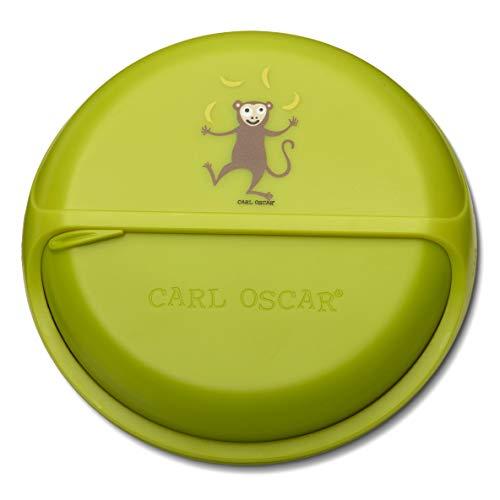 Carl Oscar SnackDisc – Caja de aperitivos giratoria con 5 compartimentos, pequeña fiambrera para aperitivos para niños, guardería, escuela, viajes (verde)