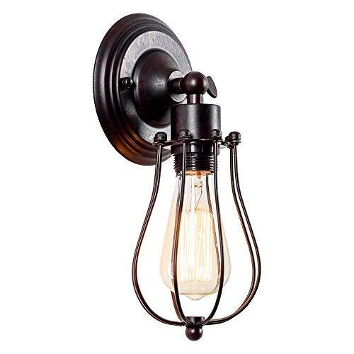Applique murale industrielle Applique Vintage Lampe réglable Lampe rustique en fil métallique Cage Applique murale Abat-jour style Edison Luminaire antique (sans ampoule) (couleur rouille)
