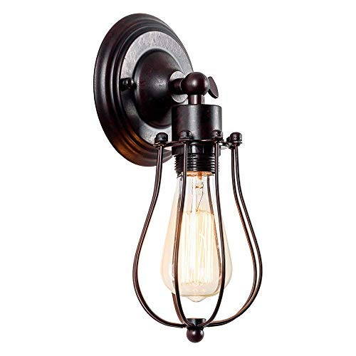 Apliques de pared industrial Lámpara vintage de iluminación ajustable Lámpara de alambre rústico Jaula de metal Aceite de pared frotada Luz de sombra estilo Edison (sin bombilla) (color óxido)