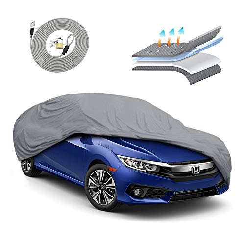 Motor Trend OC443 4 Layer Series Outdoor Car Cover Custom Fit for Honda Civic 2006-2020 All Weather Protect Waterproof