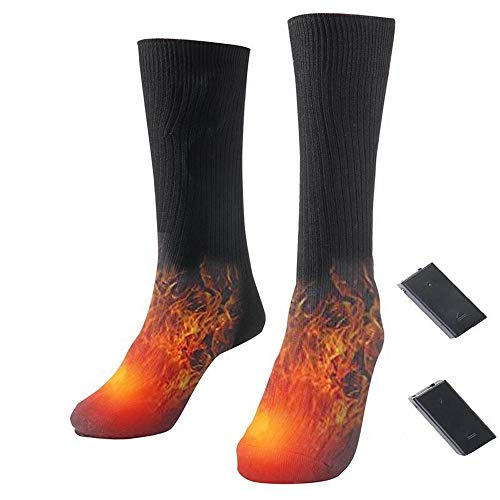 CaoQuanBaiHuoDian Snowboard Socken Elektro-Heizung Socken Freie Größe geeignet for den Winter Skifahren und andere Outdoor-Aktivitäten Große zu halten Füße warm (Color : Black, Size : Free Size)