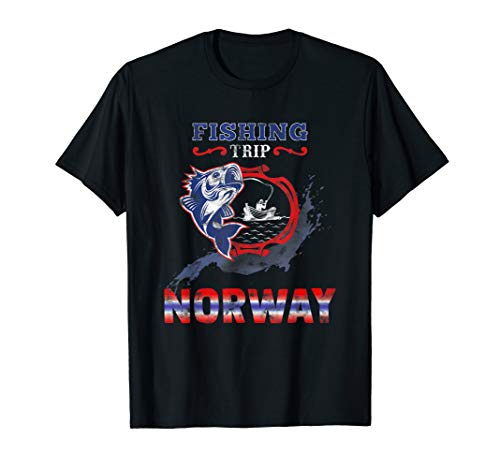 NORWAY 2019 - Angel Tour nach Norwegen mit Flagge T-Shirt
