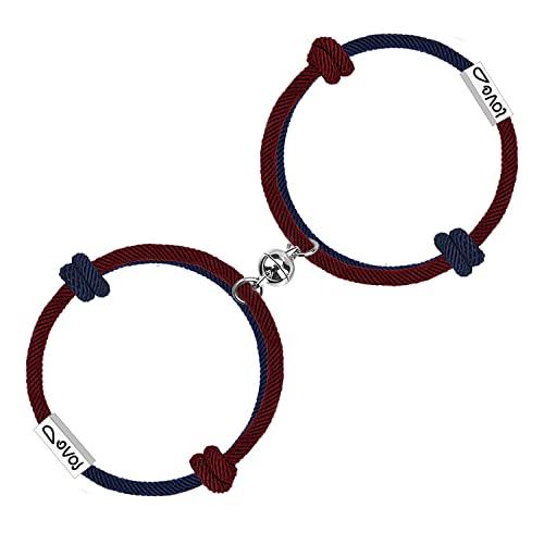 Juego de 2 pulseras magnéticas de atracción mutua con 'amor' grabadas de cuerda trenzada pulsera de regalo para parejas para hombres y mujeres,