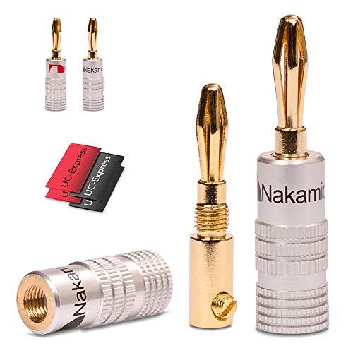 UC-Express 4X High End Nakamichi Bananenstecker mit Schrumpfschlauch Bananas Banana für Kabel bis 6mm² 24K löt- oder schraubbar vergoldet in schwarz und rot