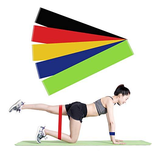 TOPVORK Fitnessbänder Widerstandsbänder [5er Set] Gymnastikband Theraband & Tragebeutel für Muskelaufbau, Yoga, Crossfit, Gymnastik usw