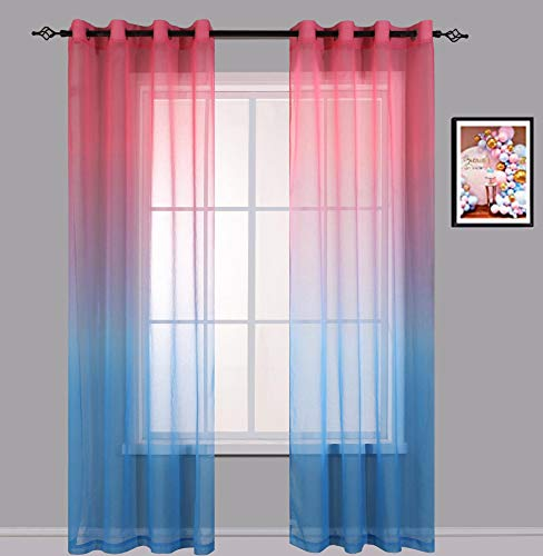 Cherhoo Ombre Window Semi Sheer Curtains,2 Tone Gradient Faux Linen Drapes for Girls Bedroom/Living Room,Set of 2 Window Curtain Panels (Pink and Blue,52W×63L,Grommet Top)