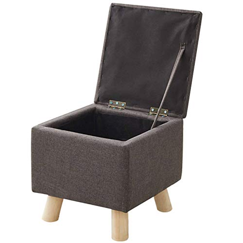 Square Ottoman, Linen Storage Footrest Stool Padded Seat Shoe Bench Footstool Space-Saving Support 150KG Great for Living Room Coffee Table Hallway-D-33x29cm(13x11inch)
