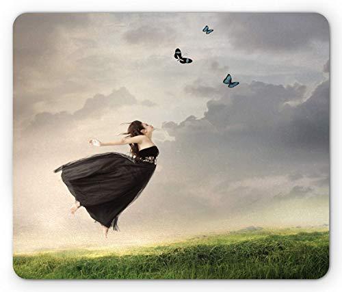 Vlinder Mouse Pad, Poëzie Bleak Weer Dag Tule Jurk Jumping Meisje met Vlinders, Mousepad muismat Bleke Grijs Olijf