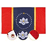 FLAGBURG Embroidered New Mississippi State Flag 3x5 Ft, in God We Trust Flag FeaturingEmbroidered Magnolia Pattern and Brass Grommets,Long Lasting New MS Flag for Outdoor Indoor Display