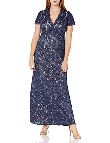 Alex Evenings Women's Long V-Neck Fit and Flare Dress Lace, Navy/Nude, 6 (Apparel)