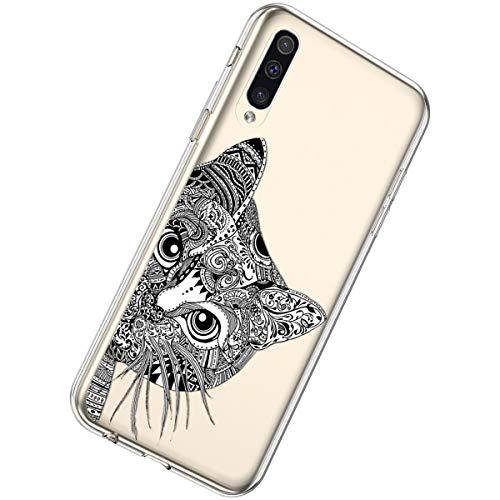 Herbests Kompatibel mit Samsung Galaxy A20 / A30 Hülle Silikon Weich TPU Handyhülle Durchsichtige Schutzhülle Niedlich Muster Transparent Ultradünn Kristall Klar Handyhülle,Schwarze Katze