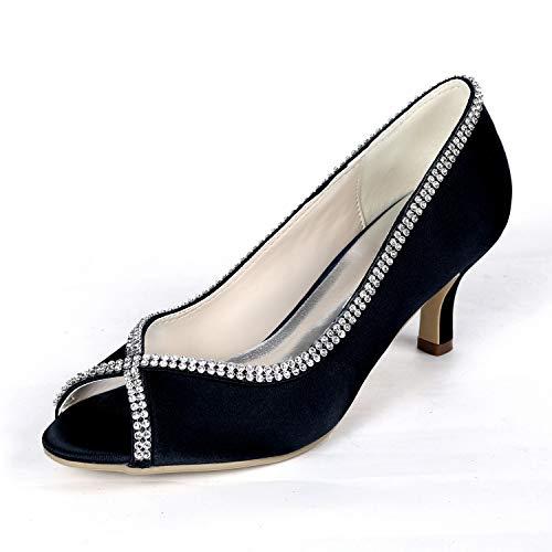 Zapatos de novia para mujer Gatito medio tacón bajo Peep Toe Smart Slip on Oficina Formal Zapatos de trabajo, Black, 40 EU