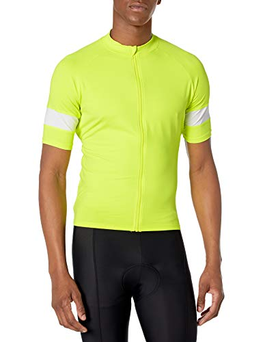 Amazon Essentials Men's Standard Short-Sleeve Cycling Jersey, Safety Yellow, Large