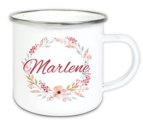 Werbetreff Gera Geschenk Emaille mit Name Blumen Rahmen Tasse weiß individuell Vintage, Picknick, Outdoor, Shabby, Geschenkidee für Frauen