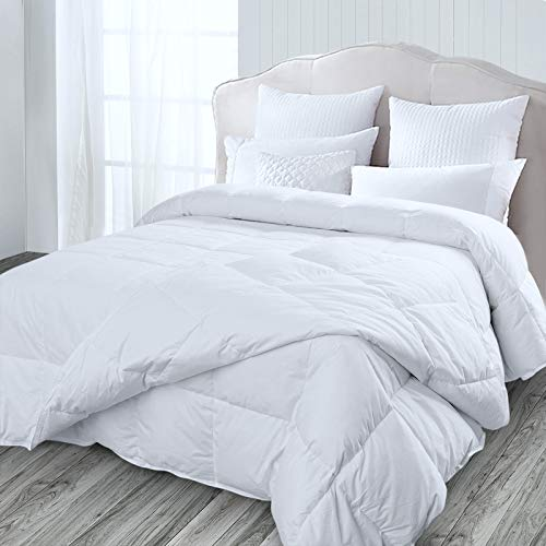 Four-Season Goose Down Feather Duvet, Double, Detachable 2 in 1 Quilts (4.5 Tog + 9 Tog) For All Season Use, 100% Cotton Down Proof Fabric, Machine Washable & Premium Box-Stitch Design(200x200cm)