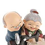 Homyl Chinesische Alter Mann und Frau Ehepaar Figur Skulptur Deko Figuren, mehrerer Lebensszene – 07 Nähen - 3