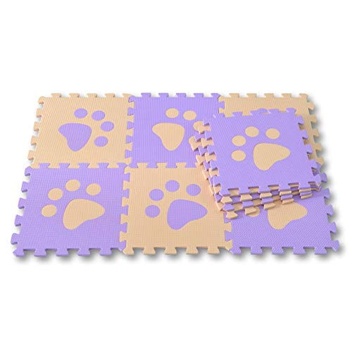 Meitoku Alfombra de Goma EVA para niños con puzle. 10 alfombras de 30 x 30 x 1 cm. Patas de Perro Beige y Morado.