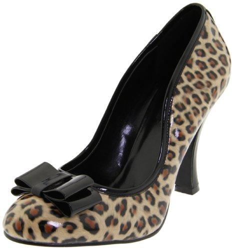 Pin Up Couture SMITTEN-01 Tan PU-Blk Pat (Cheetah Print) UK 2 (EU 35)