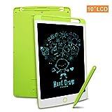 Richgv Tablette d'écriture LCD,10 Pouces Électronique LCD Writing Tablet, Tablette numérique avec Verrouillage de la mémoire pour Enfants et Adultes Écriture Dessin,Jouet Educatif, Memo Board(Vert)