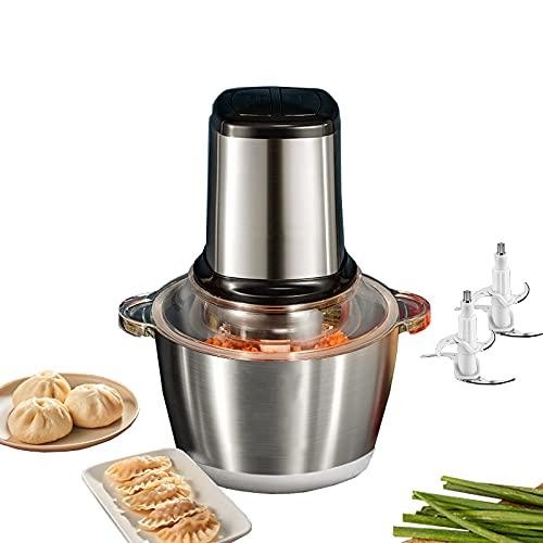 RRFZ Procesador de Alimentos 1.8l Vidrio 2l Picadora eléctrica de Acero Inoxidable Picadora de Carne Mini picadora de 2 velocidades para Verduras, Frutas A (picadora de Verduras)