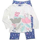 Peppa Wutz Schlafanzug Mädchen Pyjama Peppa Pig Lang (Weiß-Rosa/Flieder, 122-128)