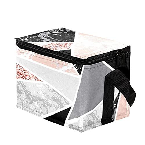 Bolsa Termica,Bolsa de Almuerzo,Bolsa de Pícnic ,Bolsa Nevera Portatil ,Bolsa Térmica Comida,Bolsa de Almuerzo Térmica Impermeable Formas geométricas y brillo rosa.