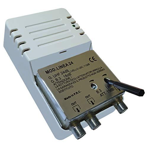Linea 24 - Amplificatore per Antenna Digitale da Interno a 2 Uscite, Connettore F, Amplificatore di Linea con Guadagno...