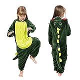Coralup - Tutina morbida intera per bambini e bambine, con cappuccio, in pile, fantasia dinosauro, pigiama in un pezzo per bambini Dinosauro. 7-8 Anni