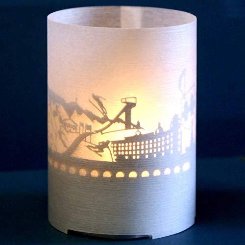 13gramm Innsbruck-Skyline Windlicht Souvenir in der Geschenk-Box, 3D Edelstahl Aufsatz für Kerze inkl. Kerze, Projektionsschirm