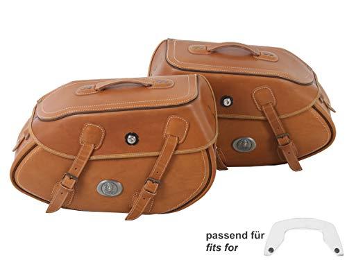 H&B Motorrad Satteltaschen für Motorrad Taschen Ledersatteltaschenpaar Buffalo 60 Liter für C-Bow sandbraun, Unisex, Chopper/Cruiser, Ganzjährig