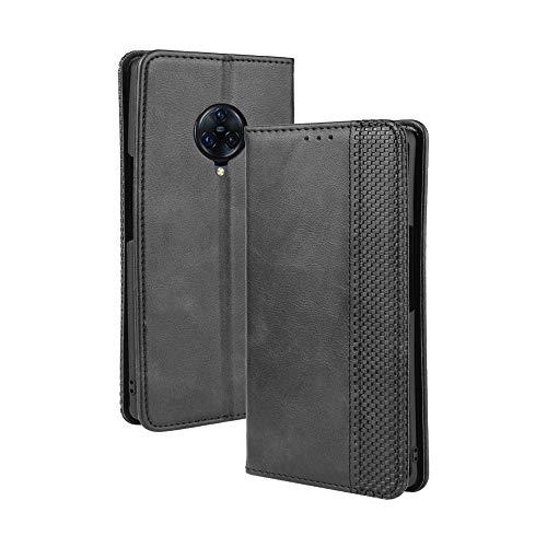 LAGUI Kompatible für VIVO NEX 3 / NEX 3 5G Hülle, Leder Flip Hülle Schutzhülle für Handy mit Kartenfach Stand & Magnet Funktion als Brieftasche, schwarz
