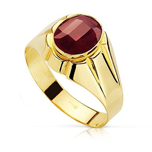 Alda Joyeros - Anello con sigillo, da uomo, mod. Constanzo, oro giallo 18 carati, personalizzabile