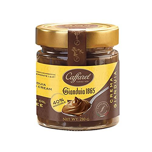 Caffarel Gianduia 1865 Crema Spalmabile Cioccolato Gianduia con 40% di nocciole italiane IGP, in vetro 210g