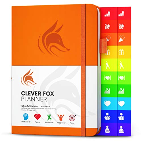 Clever Fox Planner - Weekly & Monthly Planner to Increase Productivity, Time Management and Hit Your Goals - Organizer, Gratitude Journal - Undated - Start Anytime, A5, Lasts 1 Year, Orange (Weekly)