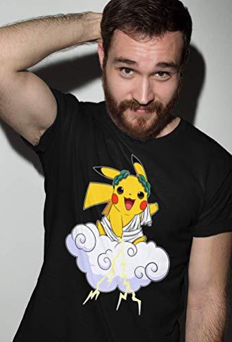 Okiwoki T-Shirt Noir Pokémon parodique Pikachu Sauce Zeus, Le Dieu du Tonnerre : Le Dieu du Tonerre : (Parodie Pokémon)