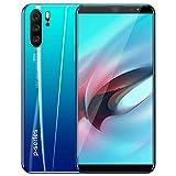 P33 Plus 5.8 pulgadas teléfono móvil del androide 8.1 Móvil 3G de doble tarjeta SIM del teléfono celular 4GBRAM + 32GB ROM,Azul,UKplug